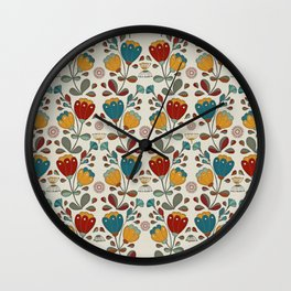 Vintage Ethno Flowers in red, blue and yellow on beige Wall Clock