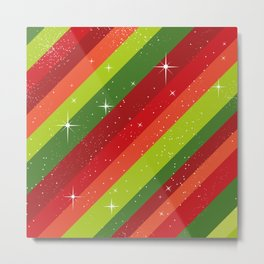 Christmas Pattern, Green, Red, Stars, Snowflakes Metal Print