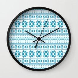 Blue Scandinavian Christmas Pattern Wall Clock