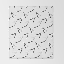 Barbershop pattern with shaving razor Throw Blanket