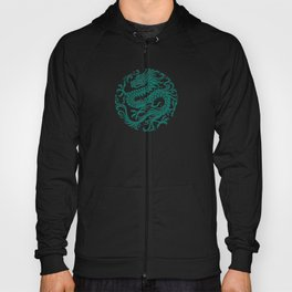 Traditional Teal Blue Chinese Dragon Circle Hoody