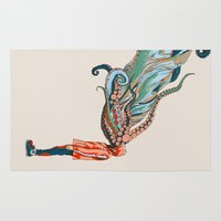 octopus Area & Throw Rugs featuring Octopus in me by Huebucket