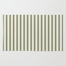 Mattress Ticking Wide Striped Pattern in Dark Black and Beige Rug