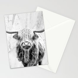 Highland Cow on Marble Black and White Stationery Cards