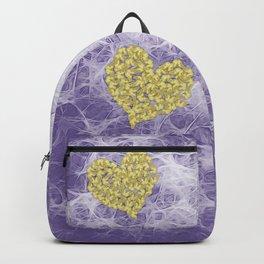 Gold butterflies on ultraviolet fractal texture Backpack