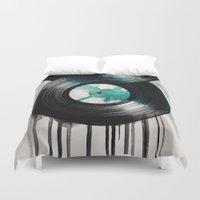 vinyl Duvet Covers featuring infinity vinyl by Vin Zzep