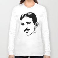 tesla Long Sleeve T-shirts featuring nicola tesla by b & c