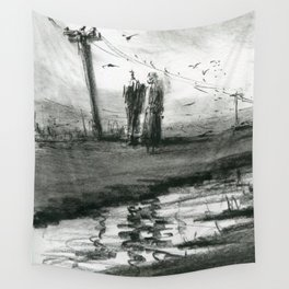 Ink and Carbon Pencil Wall Tapestry