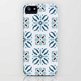 Portuguese tile in blue, aquamarine and brown iPhone Case