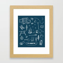 Simple Camping blue Framed Art Print