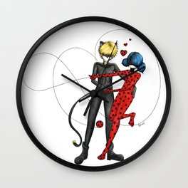 Ladybug and Chat Noir by Studinano Wall Clock
