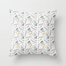 Hand painted modern blue brown watercolor leaves Throw Pillow