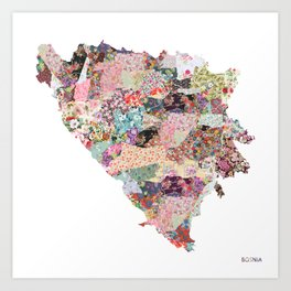 Bosnia map Art Print