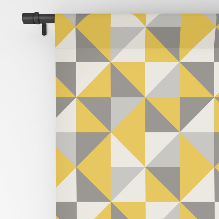 Retro Triangle Pattern in Yellow and Grey Blackout Curtain
