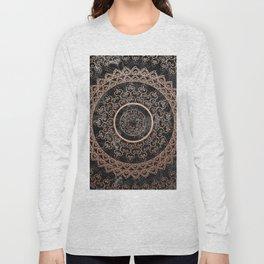 Mandala - rose gold and black marble Long Sleeve T-shirt