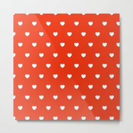 HEARTS ((white on cherry red)) Metal Print