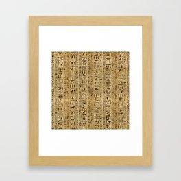Egyptian hieroglyphs on papyrus Framed Art Print