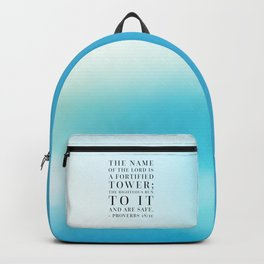 Proverbs 18:10 Bible Quote Backpack