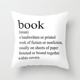 Book Definition (Black on White) Throw Pillow