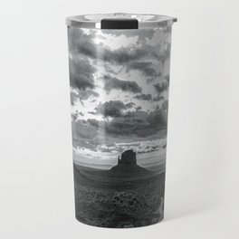 Southwest Wanderlust - Monument Valley Sunrise Black and White Travel Mug