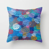 coral Throw Pillows featuring Coral by Helene Michau