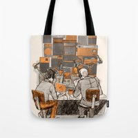 lab Tote Bags featuring Radio Lab by Bony Fingers