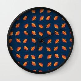 Fall Night - Leaf pattern on navy background Wall Clock