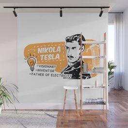 Nikola Tesla Retro Scientist Wall Mural