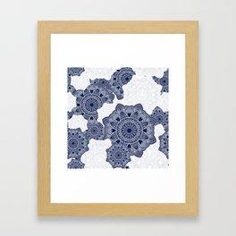 Blue and white mandala background Framed Art Print