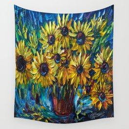 Sunflowers In A Vase Palette Knife Painting Wall Tapestry