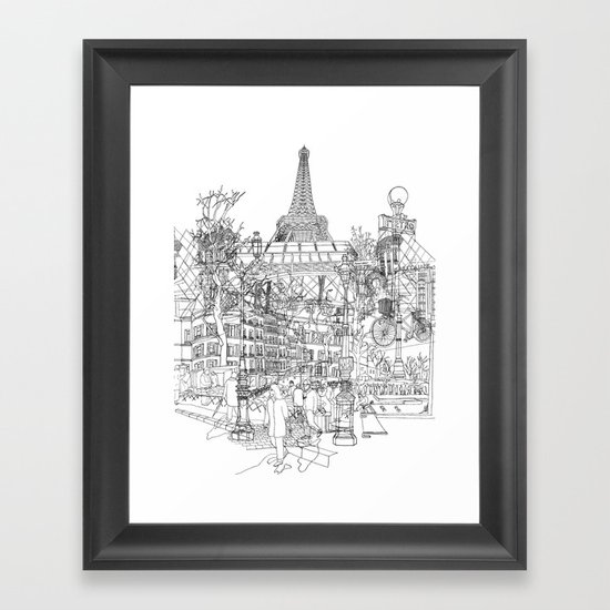 Paris! B&W Framed Art Print
