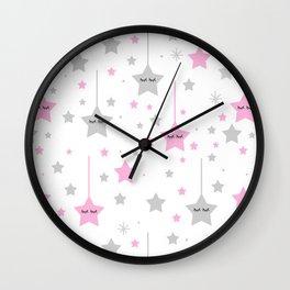 Pink Twinkle Sleepy Eyes Stars Baby Girl Nursery Wall Clock