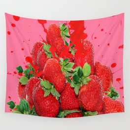 JUICY RED STRAWBERRIES PINK ART Wall Tapestry