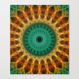 Mandala with green, brown and golden ornaments Canvas Print