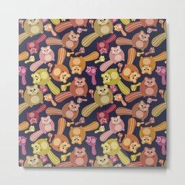 Crazy squirrel mess pattern Metal Print