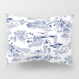 FLOOD IN ANTIQUE CHINESE PORCELAIN Pillow Sham