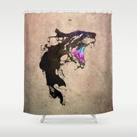 monster Shower Curtains featuring Monster by KUI29