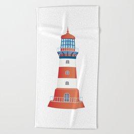nautical lighthouse Beach Towel
