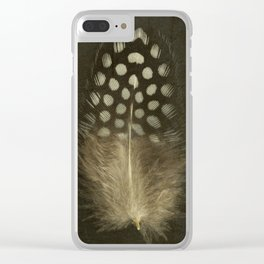 Guinea Fowl Feather Clear iPhone Case
