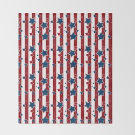 Blue stars, red striped Throw Blanket