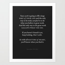 Steve Jobs Quote Art Print