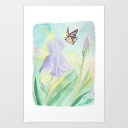 Once upon a time, in a watercolor garden Art Print