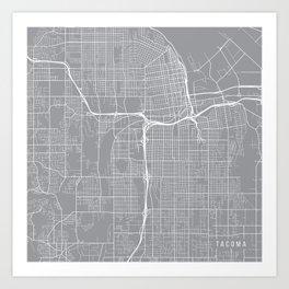 Tacoma Map, Washington USA - Pewter Art Print