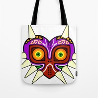 majoras mask Tote Bags featuring Majoras Mask by fiono