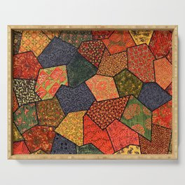 Japanese colorful quilt patchwork Serving Tray