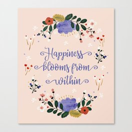 Happiness blooms from within- delicate pastel pattern Canvas Print