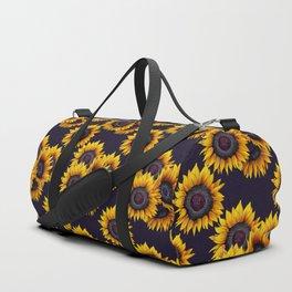 Sunflowers yellow navy blue elegant colorful pattern Duffle Bag