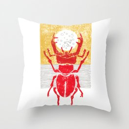 Red stag facing a golden sky Throw Pillow