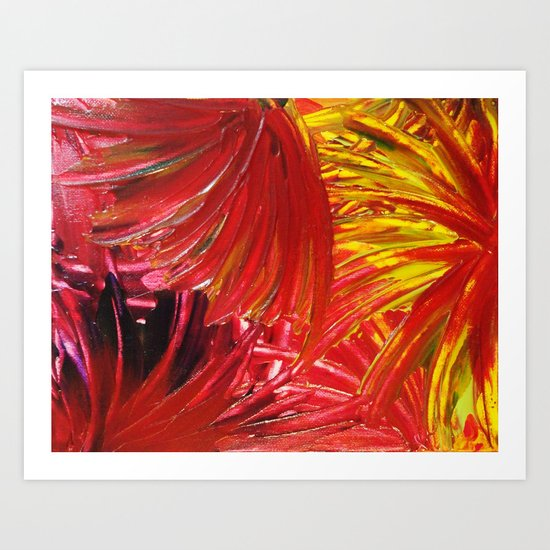 FIREWORKS IN RED - Stunning Bright Bold Autumn Colors Leaves Fall Festival 2012 Firecrackers Lights Art Print