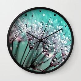 Diamond Blue Water Droplets Wall Clock